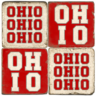 Ohio Coaster Set.  Handmade Marble Giftware by Studio Vertu.