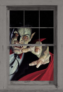Vampire Poster shown in a window