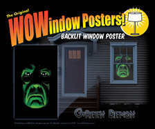 Green Demon WOWindow Halloween Poster Decoration shown in a house