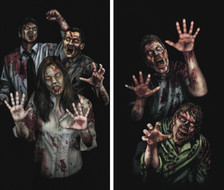 Zombie Asylum 2 part Halloween Window Poster Decorations