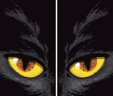 Yellow Cat Eyes Double Halloween Window Poster Decorations