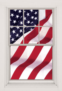 Old Glory USA American Flag Decorative Window Poster shown in a window