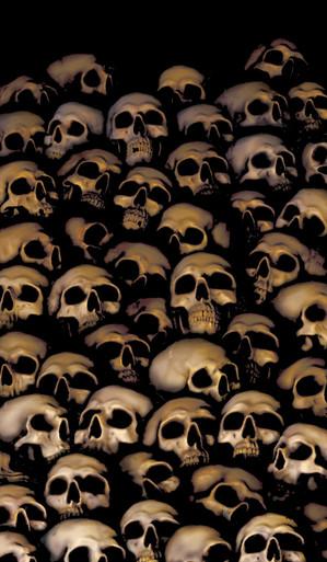 Window full of skulls Halloween Window Poster Decoration