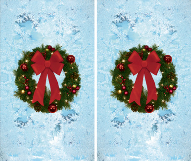 Two Christmas Wreath Poster -  Decorative Christmas Window Posters