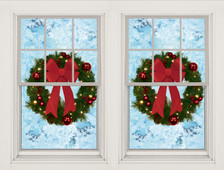 Two Christmas Wreath Posters shown in two windows