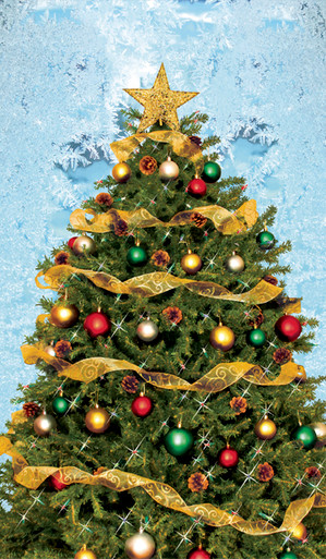 Christmas Tree with Frosted Blue Background Decorative Christmas Window Poster