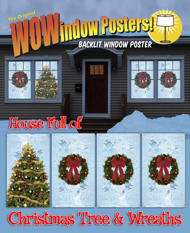 One Christmas Tree with Frosted Blue Background and Three Wreath Decorative Christmas Window Posters