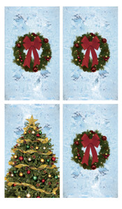 Christmas Tree and Three Wreath Posters shown in four windows