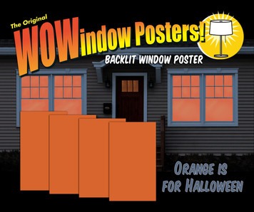 4 sheetss of Orange film that fills your window for a great Halloween feel shown in house
