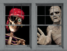 Peppy the Pirate and The Mummy WOWindow Halloween Poster Decorations as seen behind window frames