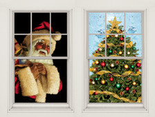 Santa Clause and Christmas Tree WOWindow Posters Christmas Decorations as seen two window frames