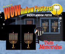 2 Menorah Decorative Window Poster for hanukkah as seen in a house