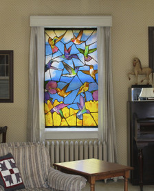 Hummingbirds Stained Glass Decorative Window Poster as seen from inside spreading beautiful color indoors and providing privacy
