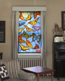 Butterflies Stained Glass Decorative Window Poster as seen from inside spreading beautiful color indoors and providing privacy