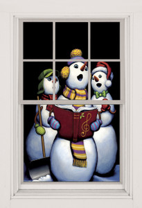 Singing Snowmen poster shown in a window