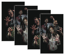 House full of zombies 4pack of Halloween Window Poster Decorations