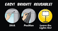 Easy! Bright! Reusable! This graphic shows how easy it is to stick, hang and just leave your lights on for our posters to work.