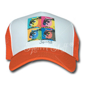SqWarhol Orange Trucker Hat   Squirrel Hat