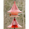 Ruby red SkyCafe bird feeder and squirrel-away pole mount baffle kit