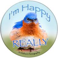I'm happy really sandstone ceramic coaster | Bluebird Coaster | Front