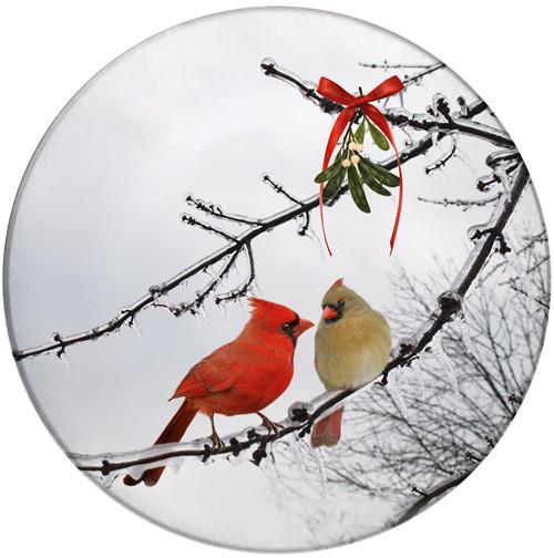 Cardinal Kiss Sandstone Ceramic Coaster   Christmas Cardinals   Front