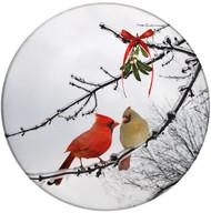 Cardinal Kiss Sandstone Ceramic Coaster | Christmas Cardinals | Front
