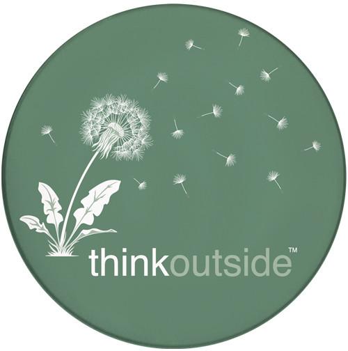 Think Outside Dandelion Sandstone Ceramic Coaster   Front