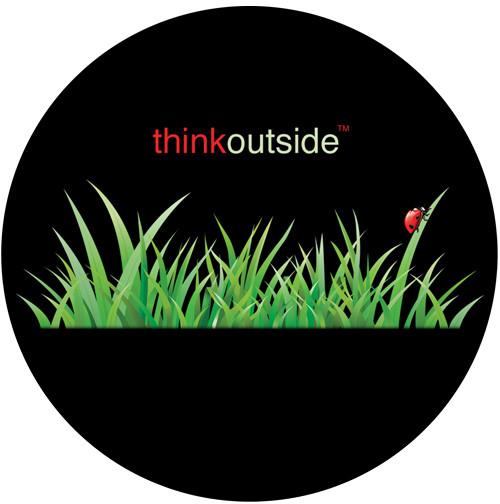 Think Outside Grass Sandstone Ceramic Coaster | Ladybug Grass | Front