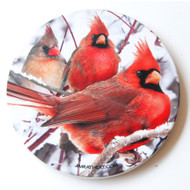 Winter Cardinal Sandstone Ceramic Coaster | Front