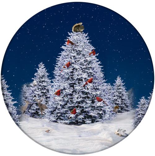Squirrel Christmas Tree Sandstone Ceramic Coaster | Christmas Coaster
