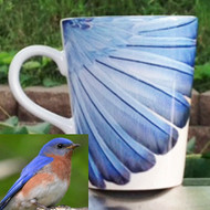 Bluebird Feathers Latte Mug | 12 oz. ceramic
