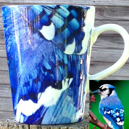 Blue Jay Latte Mug   12 oz. ceramic