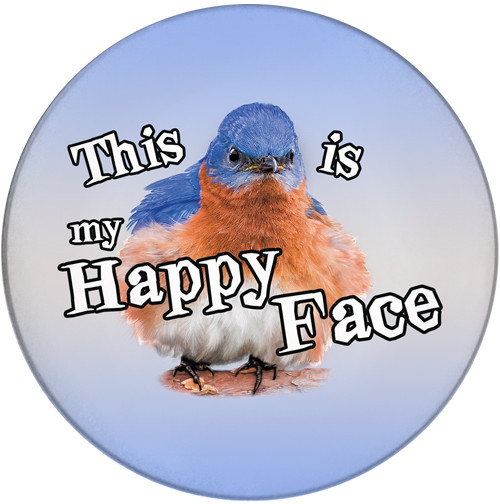 This is my Happy Face Sandstone Ceramic Coaster | Front