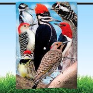 "Woodpecker Garden Flag | 12"" x 18"" 