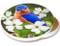 Bluebird on Dogwood Sandstone Ceramic Coaster | Image shows front and cork back