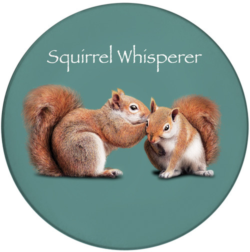 Squirrel Whisperer Ceramic Coaster | Front