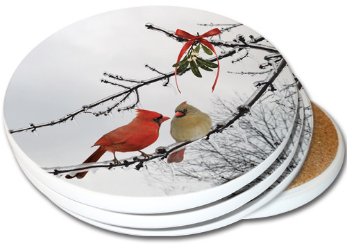 Cardinal Kiss Sandstone Ceramic Coasters | 4pack | Christmas Coasters