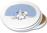Snowman Squirrel Coaster | 4pack | Christmas Coasters