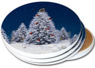 Squirrel Christmas Tree Sandstone Ceramic Coaster   4pack   Christmas Coasters