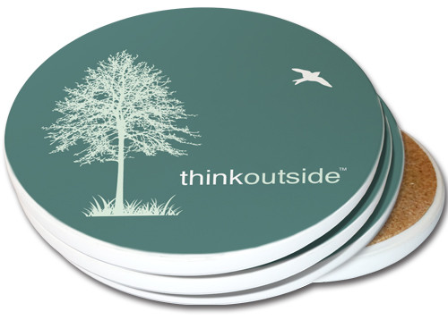 Think Outside Tree Sandstone Ceramic Coasters   4pack