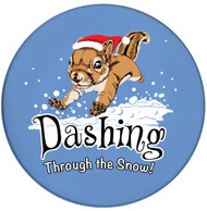 Dashing Through the Snow Squirrel Sandstone Ceramic Coasters  | Front