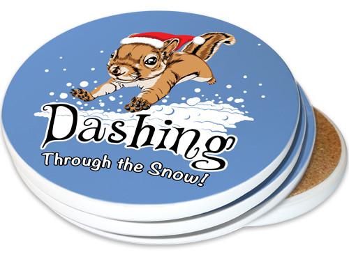 Dashing Through the Snow Squirrel Sandstone Ceramic Coasters   4pack
