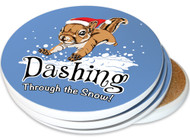 Dashing Through the Snow Squirrel Sandstone Ceramic Coasters | 4pack