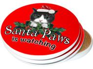 Santa Paws Sandstone Ceramic Coasters | 4pack