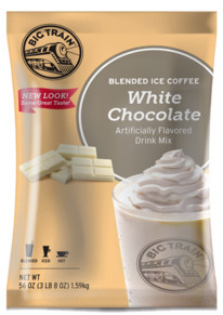 Whip up white chocolate indulgence with a caffeinated kick! Fans of silky white chocolate will love Big Train's White Chocolate Latte Blended Ice Coffee Mix. We source the highest-quality ingredients and carefully blend them to create our irresistiblecaffeinated mix. Our sweet, creamy blend is sure to refresh with aromatic, full-bodied coffee and the mellow flavor of sweet white chocolate. And our silky base delivers smooth, consistent texture with every cup. Enjoy on its own, or customize with a dollop of sweet whipped cream.