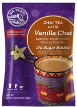 Enjoy Big Train's legendary chai latte without the sugar. No Sugar Added Vanilla Chai offers the same delicious taste. Refresh your body and soul with the creamy blend of vanilla, black tea and exotic spices.