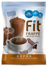 Our chocolaty coffee-flavored Fit Frappé Mocha Mix combines vital nutrients and protein with a supercharged caffeine boost to invigorate and satisfy. We've carefully blended Fit Frappé with calcium caseinate, a slow-releasing protein your body can use throughout the day. Our Mocha Fit Frappé is loaded with 20 grams of protein, and contains only 130 calories and less than 1 gram of sugar per 16 oz. serving Whether you drink it as an on-the-go meal replacement, filling snack or coffee alternative, with Fit Frappé you can feel good about what you put in your body. Our powerhouse Fit Frappé Mocha Protein Drink Mix is packed with vitamins, minerals and protein. It's also gluten-free and contains no added sugars, hydrogenated oils or trans fats to slow you down. Kosher-Dairy certified.