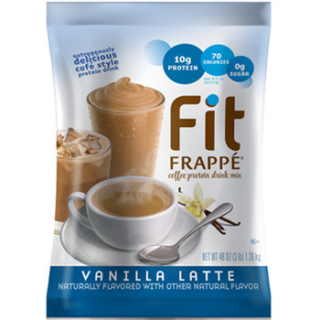NEW Fit Frappé. With 20 grams of protein, less than 1 gram of sugar and only 130 calories, Big Train's Vanilla Latte Fit Frappé will give you a healthy boost to power through your day.