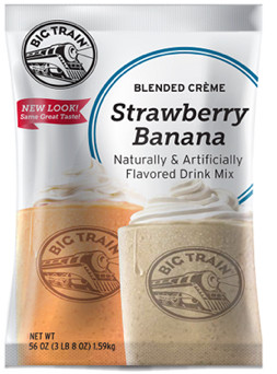 """Strawberry Banana blended creme frappe mix from Big Train combines the best of two worlds in a creamy fruity """"just add water"""" gourmet drink. Just add water. This Coffee-free mix is rich and velvety, with a taste that will have your taste buds begging for more! Not only is our Strawberry Banana Blended Crème great alone, it can also be mixed with fruit, candy, cookies, or made into a creamy, satisfying milkshake without the ice cream."""