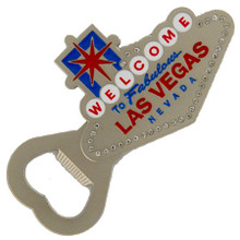 Las Vegas Sign Pewter Rhinestone Magnet Bottle Opener